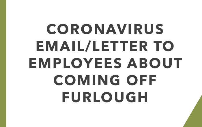 Email/letter to employees about coming off furlough.